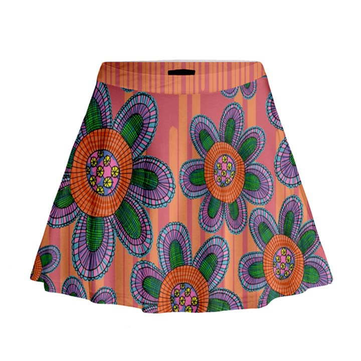Colorful Floral Dream Mini Flare Skirt