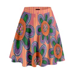 Colorful Floral Dream High Waist Skirt