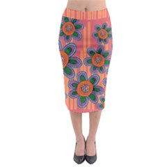 Colorful Floral Dream Midi Pencil Skirt
