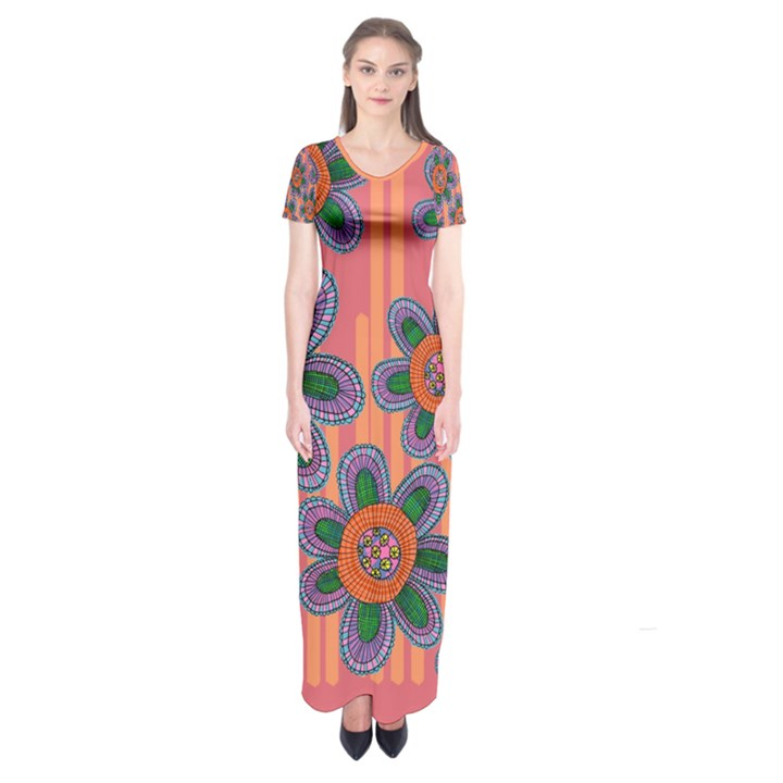 Colorful Floral Dream Short Sleeve Maxi Dress