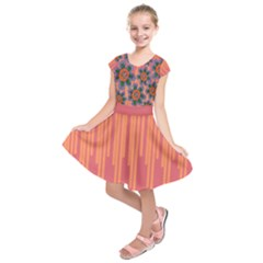 Colorful Floral Dream Kids  Short Sleeve Dress