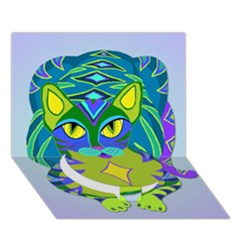 Peacock Tabby Circle Bottom 3d Greeting Card (7x5)