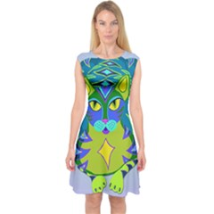 Peacock Tabby Capsleeve Midi Dress