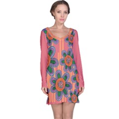Colorful Floral Dream Long Sleeve Nightdress
