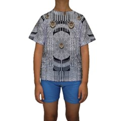 Gold And Silver Is The Way Kids  Short Sleeve Swimwear