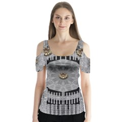 Gold And Silver Is The Way Butterfly Sleeve Cutout Tee