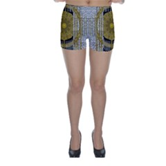 Silver And Gold Is The Way To Luck Skinny Shorts