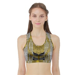 Silver And Gold Is The Way To Luck Sports Bra with Border