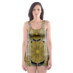 Silver And Gold Is The Way To Luck Skater Dress Swimsuit