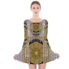 Silver And Gold Is The Way To Luck Long Sleeve Velvet Skater Dress