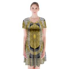 Silver And Gold Is The Way To Luck Short Sleeve V-neck Flare Dress