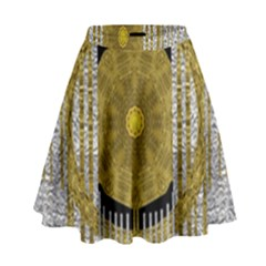 Silver And Gold Is The Way To Luck High Waist Skirt