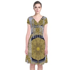 Silver And Gold Is The Way To Luck Short Sleeve Front Wrap Dress