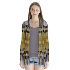 Silver And Gold Is The Way To Luck Drape Collar Cardigan