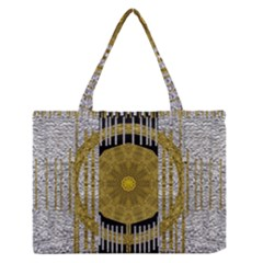 Silver And Gold Is The Way To Luck Medium Zipper Tote Bag