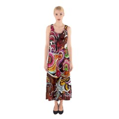 Abstract Abstraction Color Bright Sleeveless Maxi Dress