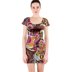 Abstract Abstraction Color Bright Short Sleeve Bodycon Dress