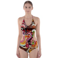 Abstract Abstraction Color Bright Cut-Out One Piece Swimsuit