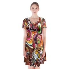 Abstract Abstraction Color Bright Short Sleeve V-neck Flare Dress