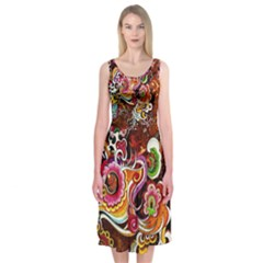 Abstract Abstraction Color Bright Midi Sleeveless Dress