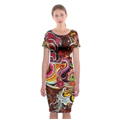 Abstract Abstraction Color Bright Classic Short Sleeve Midi Dress