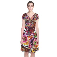 Abstract Abstraction Color Bright Short Sleeve Front Wrap Dress