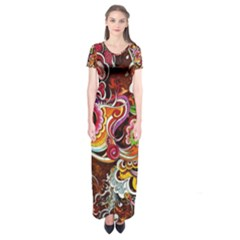 Abstract Abstraction Color Bright Short Sleeve Maxi Dress