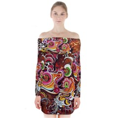 Abstract Abstraction Color Bright Long Sleeve Off Shoulder Dress
