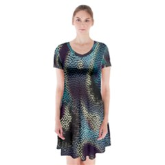 Abstract Collection Romantic Pattern Short Sleeve V-neck Flare Dress