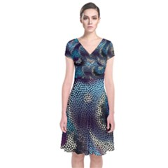 Abstract Collection Romantic Pattern Short Sleeve Front Wrap Dress