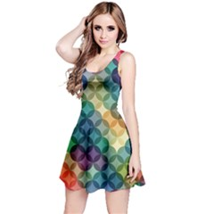 Abstract Colorful Geometric Pattern Reversible Sleeveless Dress