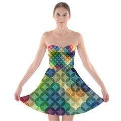 Abstract Colorful Geometric Pattern Strapless Bra Top Dress