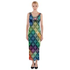Abstract Colorful Geometric Pattern Fitted Maxi Dress