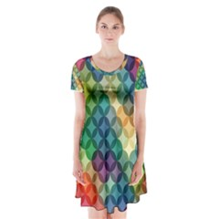 Abstract Colorful Geometric Pattern Short Sleeve V-neck Flare Dress