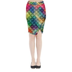 Abstract Colorful Geometric Pattern Midi Wrap Pencil Skirt