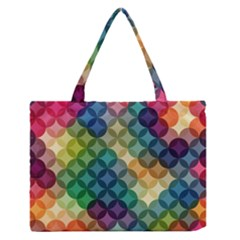 Abstract Colorful Geometric Pattern Medium Zipper Tote Bag