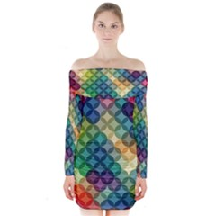 Abstract Colorful Geometric Pattern Long Sleeve Off Shoulder Dress