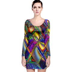 Abstract Digital Art Long Sleeve Velvet Bodycon Dress