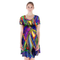 Abstract Digital Art Short Sleeve V-neck Flare Dress
