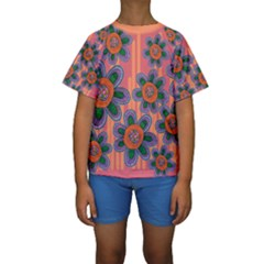 Colorful Floral Dream Kids  Short Sleeve Swimwear