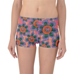 Colorful Floral Dream Reversible Boyleg Bikini Bottoms