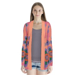 Colorful Floral Dream Drape Collar Cardigan