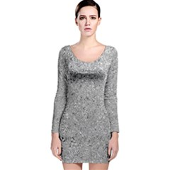 Abstract Flowing And Moving Liquid Metal Long Sleeve Velvet Bodycon Dress