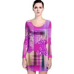 Abstract Forest Long Sleeve Bodycon Dress