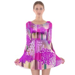 Abstract Forest Long Sleeve Skater Dress