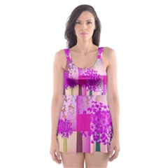 Abstract Forest Skater Dress Swimsuit