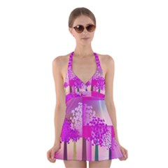 Abstract Forest Halter Swimsuit Dress