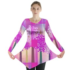 Abstract Forest Long Sleeve Tunic