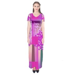 Abstract Forest Short Sleeve Maxi Dress