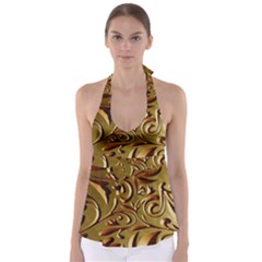 Abstract Gold Art Pattern Babydoll Tankini Top